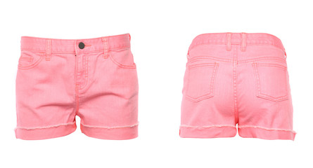 Women jeans shorts. Front. Back.