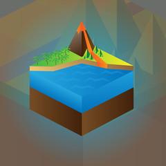 Volcano maquette. Vector scheme