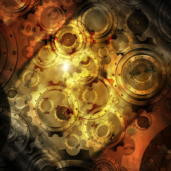 Grunge Background with Gears