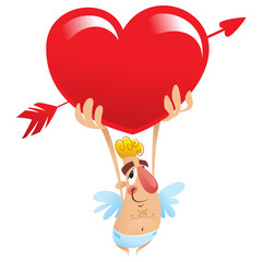 Cupid holding a big heart