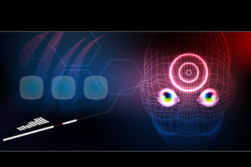 technology robot face, artificial intelligence background