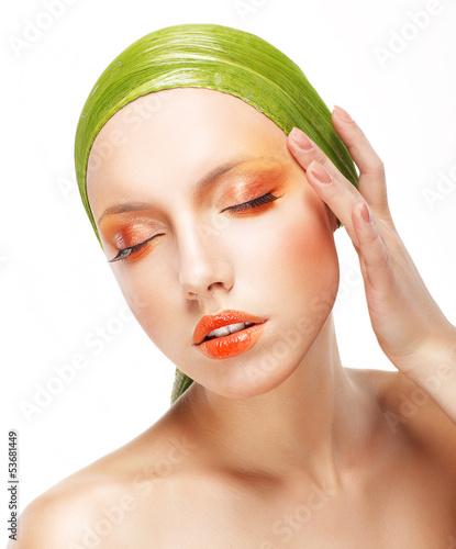 Beautiful Woman in Light Green Bandana. Creative Glossy Makeup