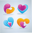 bright and glossy vector collection of love concept, labels and