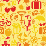 Vector seamless pattern with summer icons