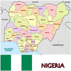 Nigeria Africa emblem map symbol administrative divisions