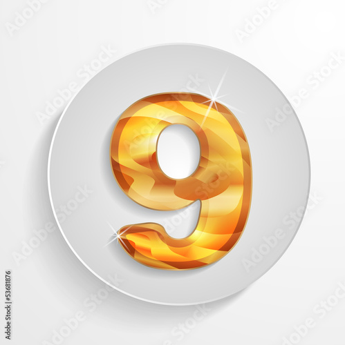 Vector light circle icon golden wood number 9