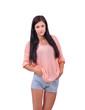 девушка в летней одежде, розовая кофта и голубые шорты