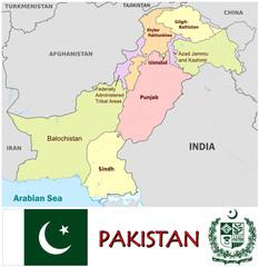 Pakistan Asia national emblem map symbol motto