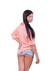 Девочка в розовой шапочке, коричневой юбочке и