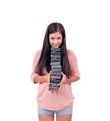 девушка с подарками в руках, много коробочек