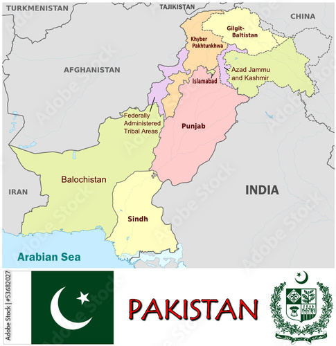 Pakistan Asia national emblem map symbol motto