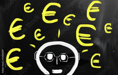 """Euro"" handwritten with white chalk on a blackboard"