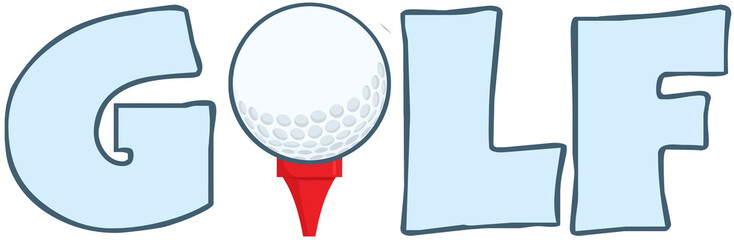 Golf Text With Golf Ball Tee