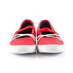 red shoes on white background.
