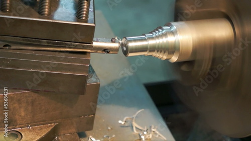Turning lathe machine finishing face aluminum.