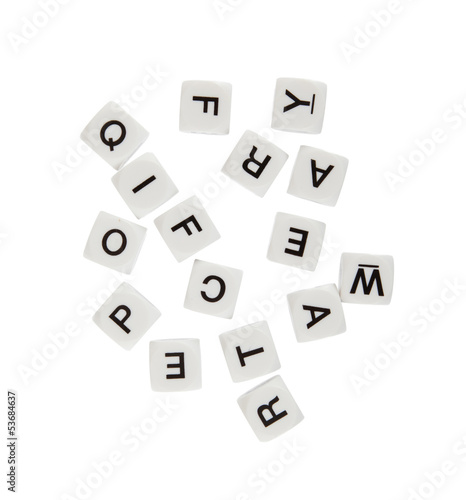 DIce with letters, isolated