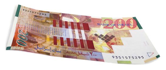 Isolated 200 Israeli Shekels Bill