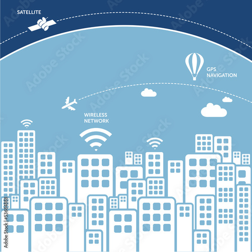 city buildings - wireless technology concept
