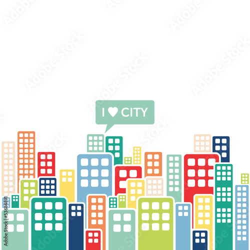 I love city - buildings in a town - modern illustration