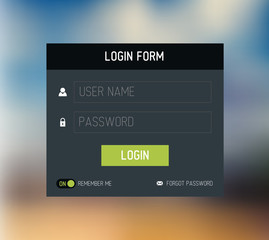 Vector login form template / design