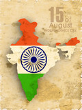 Republic of India map in national flag colors with text Ashoka w