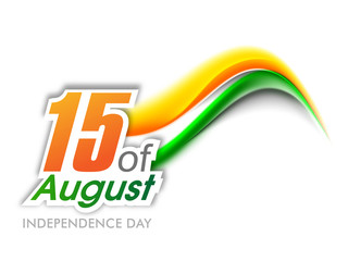 Indian Independence Day wave background with text 15 of August.