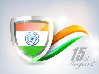 Indian Independence Day background with national flag in metal s
