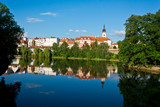 Pisek, river Otava - reflections, church