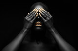 Fototapety beautiful black girl with golden make-up