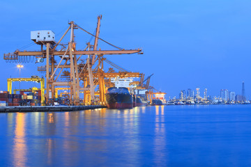 ship yard with heavy crane in beautiful twilight of day