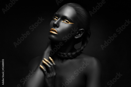 Plakat na zamówienie beautiful black girl with golden make-up