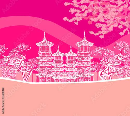 Plexiglas Roze Buddhist Zen Temple