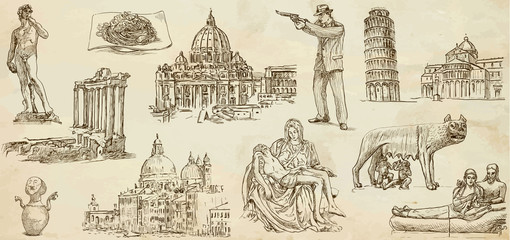 Italy - Hand drawn illustrations converted into vectors