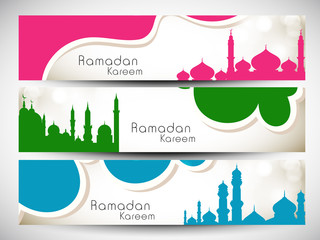 Website header or banner set for Muslim community holy month Ram