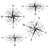 Grunge vector compass set