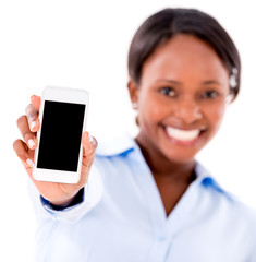Business woman showing cell phone