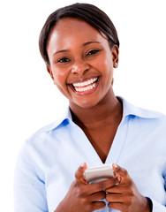Business woman text messaging