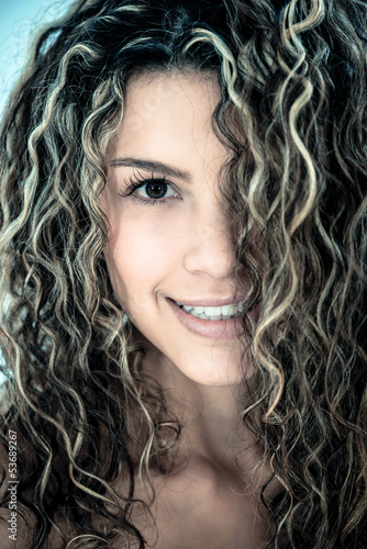 Woman with beautiful curls