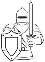 Medieval knight isolated on white background