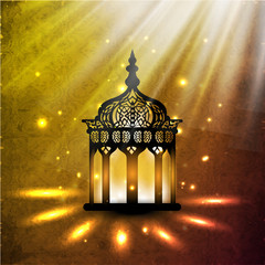 Illuminated intricate Arabic Lamp on shiny abstract background f