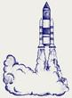 Retro rocket. Doodle style - 53690054
