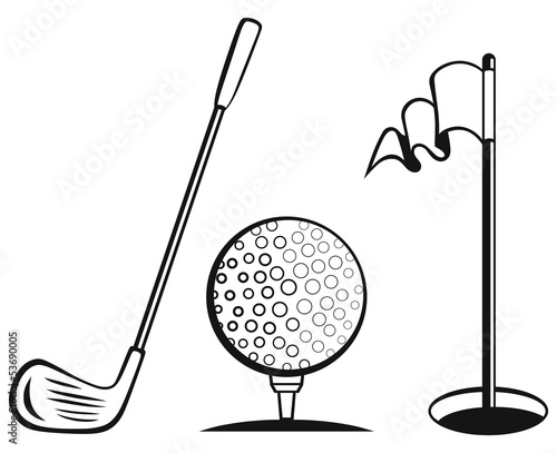 Golf icon set. Golf flag, golf ball and golf stick