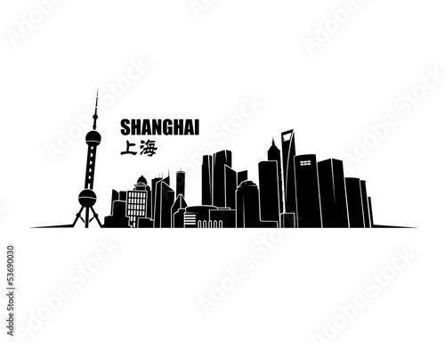 Shanghai skyline for wall