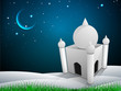 3D view of Mosque in crescent moonlight night background for Ram