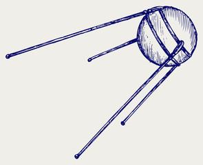Soviet satellite. Doodle style