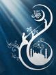 Hanging illuminated Arabic lamps on wooden background for Ramada