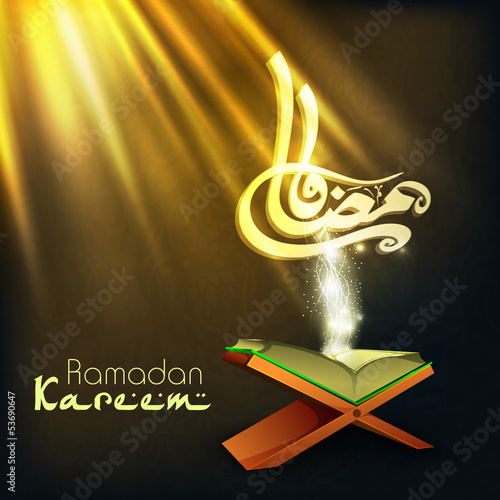 Arabic Islamic calligraphy of text Ramadan Kareem with open Isla
