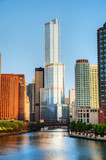 Trump International Hotel and Tower in Chicago, IL in morning - 53690836