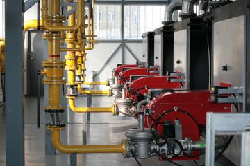 Modern hi-tech gas boiler-house