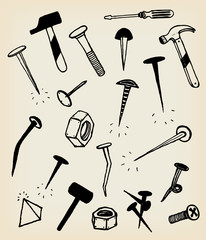 Doodle Nails, Bolts, Hammers And Tool Icons